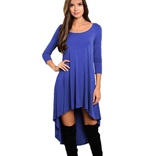 Femmes Robe à manches longues,Tonwalk Irrégulier O-Neck Décontractée En vrac Robe Bleu
