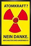1art1 Atomkraft Poster und MDF-Rahmen - Atomkraft Nein