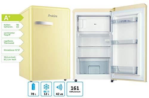 ProKIRA PR95 CR Standkühlschrank mit **** Gefrierfach/Retro PopArt/Höhe 88 cm/A+ / 92 l