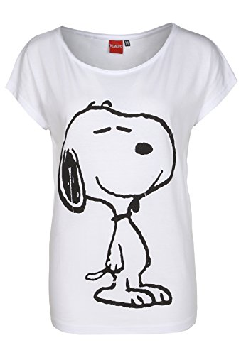Sublevel Damen T-Shirt Oversize mit Snoopy Aufdruck | Frauen Shirt Einfarbig mit Print Kurzarm | Logo Print White XS
