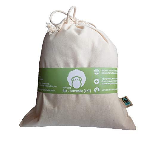 Bio Fettwolle (kbT) im fairtrade Baumwollbeutel, natürliche Hautpfege mit Lanolin Wollfett - 100% Naturprodukt ohne Chemie, ideal als Stilleinlagen und für Baby Po (100g)