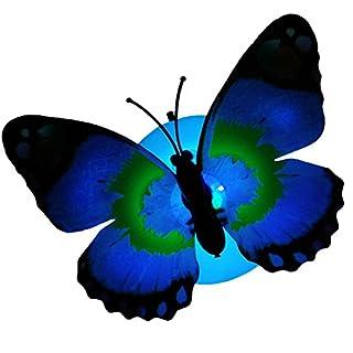 Eagsouni Romantische Leuchtenden Blumen Schmetterling Nachtlicht Selbstklebend Nachtlicht Schmetterling Kreativen Lichter (Farbe Random,10 Stück)