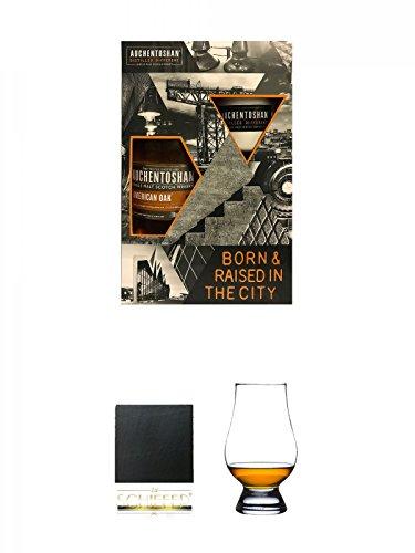 Auchentoshan American Oak in GP mit - 1 Stck. Emaille Tasse - Single Malt Whisky 0,7 Liter + Schiefer Glasuntersetzer eckig ca. 9,5 cm Durchmesser + The Glencairn Glass Whisky Glas Stölzle 1 Stück