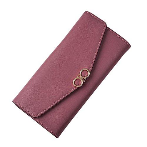 Portafoglio Donna, Tpulling Borsa lunga della borsa della frizione di svago di tempo della borsa del cuoio di modo delle donne (Hot Pink) Red