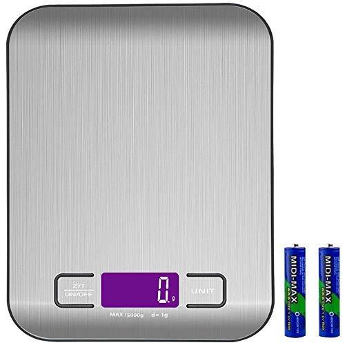 TPFOON Digitale Küchenwaage, Digitalwaage, Elektronische Waage mit Batterien, Hohe Präzision auf bis zu 1g (5kg Maximalgewicht), Tara-Funktion, aus Edelstahl mit LCD- Display, Abschaltautomatik