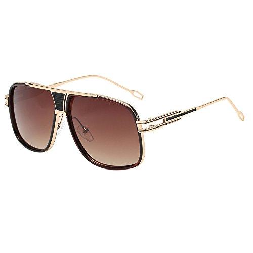 Damen Herrenmode Quadrate Metallrahmen Marke Klassische Sonnenbrillen YunYoud Eckige Sonnenbrille