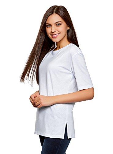 oodji Ultra Donna T-Shirt Larga con Scollo Rotondo Senza Etichetta, Bianco, IT 38 / EU 34 / XXS