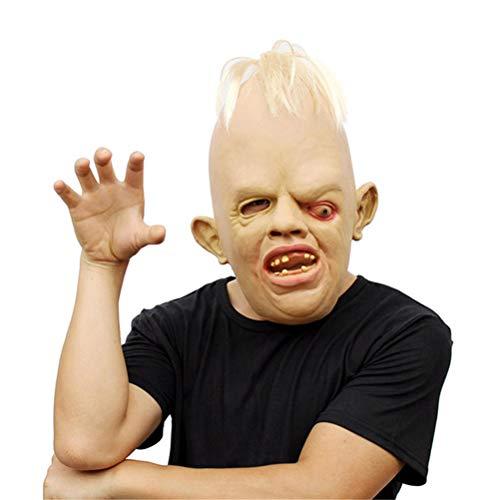 ASOSMOS Latex Rubber Gruselig Scary Hässliche Baby Kopf Faultier Maske Halloween Party Kostüm Dekoration