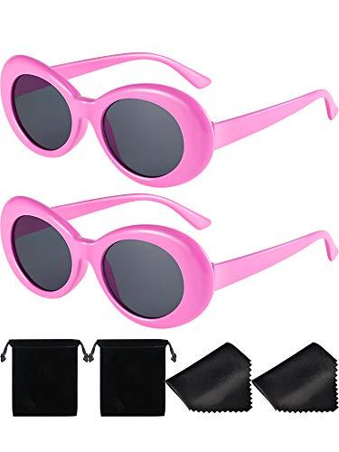2 Paare Dicker Rahmen Kurt Cobain Brille Schlagkraft Oval Runde Mod Brille Retro Sonnenbrille mit 2 Linse Tuch 2 Brillen Tasche (Rosa)