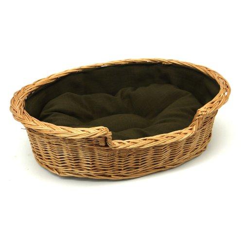Prestige Wicker Dog Bed Basket with Cushion, Extra Small, Dark