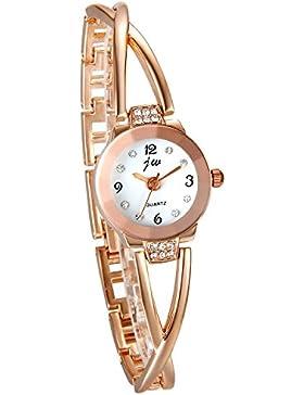 JewelryWe Damen Armbanduhr, Elegant Kreuzung Armband Design mit Strass mit Digital Zifferblatt Spangenuhr, Legierung...
