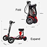 Portable Mobility Scooter Travel Car Boot Scooters 4 Wheel Portable Mobility Scooter 10Ah Batteries Cruising Range 20Km