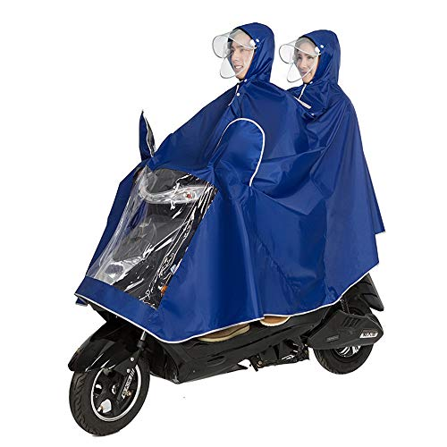 DNSJB Fahrradjacke Unisex Tandem Fahrrad, Ebike, Motorrad, Roller Poncho Regenmantel Schal (Farbe : Blau, größe : XXXL)