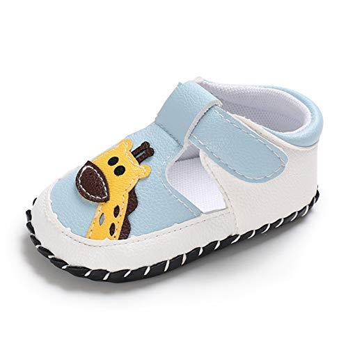 Geagodelia Baby Sandalen Weicher Lauflernschuhe Hausschuhe für Kleinkind Mädchen Junge mit Süß Cartoon Tiere Muster (6-12 Monate, Giraffe-Hellblau) (Jungen Baby Schuhe 3 Größe)