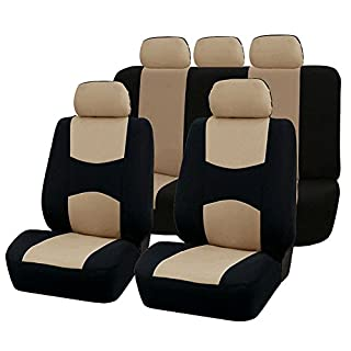 TOOGOO 9 Stueck Autos Sitzbezuege Full Auto Seat Cover Universal Fit Innen Zubehoer Auto-Styling - Beige