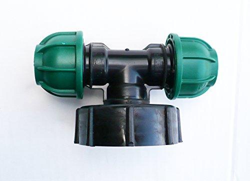 inscale IBC Adaptateur (5,1 cm S60 x 6 filetage épais) à 20 mm Double irrigation mdpe Raccord à compression. Nb couleur peut varier de l'image.