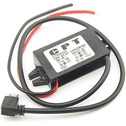 Convertisseur CC/CC Chargeur de Voiture Tension CC Module de convertisseur de régulateur de Puissance 12V à 5V 3A avec boîtier étanche Noir