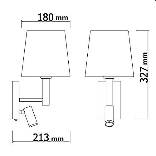 HARPER LIVING 1xE27/ES haut en bas Applique murale avec ajustable LED Liseuse, 1 USB port et 2 sur/de commutateurs, finition chrome poli, abat-jour en tissu blanc, (Cylindre ombre)