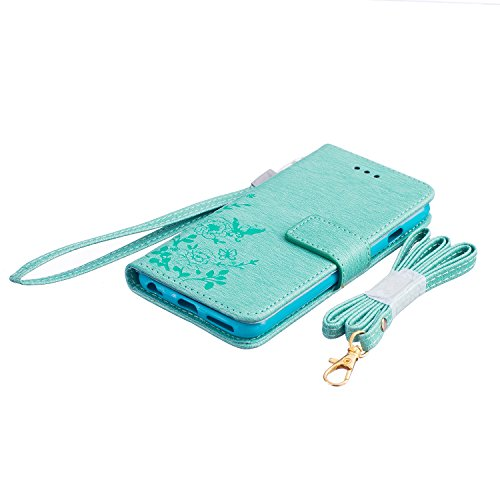 MOONCASE iPhone SE Coque, Bookstyle Portefeuille en Cuir Housse de Protection [Béquille] Étui à rabat Case pour Apple iPhone 5 / 5S / iPhone SE Bleu Vert