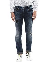 Mufti Blue Dark Super Slim Distress Jeans