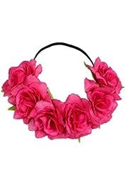 bandeau fleur,LHWY Grande fleur Rose front cheveux bandeau cheveux Couronne Summer Festival Garland