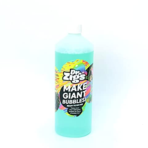 "Dr Zigs Giant Bubble Solution - The ORIGINAL ""Ready to Go"" Mixture by Dr Zigs – 1 Litre Bottle for Thousands of Giant Bubbles and Outdoor Fun – Made in UK – Ideal for Gifts Presents Parties Party"
