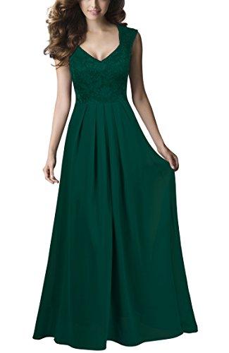 REPHYLLIS Damen Vintage Chiffon Hochzeit Brautjungfer Lang Spitzenkleider Abendkleider Dunkelgr¨¹n