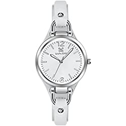 kanishi Women Ms Leather Band Watches Sport Analog Quartz Date Wrist Watch White