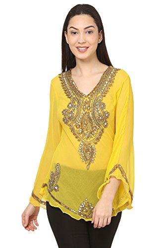Saadgi Handcrafted Bias cut sequin brass stones and Beads Embroidered Indo Western kaftan Styled butterfly sleeve Georgette Top/short kurti for Women/ Girls