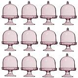 ACMEDE Mini Bandeja para Tartas Expositor (plástico Transparente Caramelos Caja de Caramelos boîte-Cadeau Baby Shower Favor cumpleaños (12pcs), plástico, Rosa, 8 * 5cm (H * L)