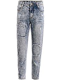 GULLIVER Pantalones vaqueros para niños, color azul, rasgados, destrozados, 8-13 años, 134-164 cm