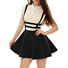 Allegra K Mujer Falda con Tiras de Cintura Elástica Corte A Line