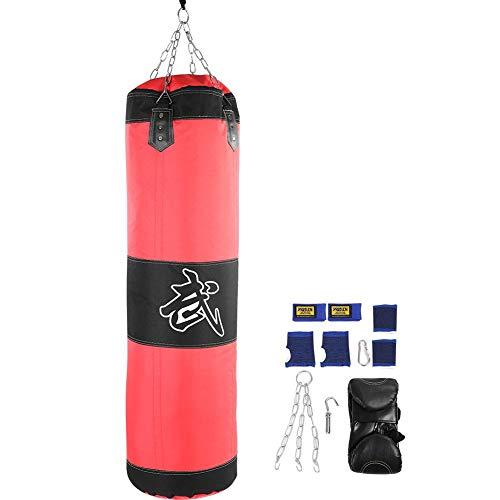 VGEBY1 Saco de Boxeo, Guantes de Boxeo MMA Muay Thai Kick Boxing Artes Marciales con Soporte Pared Cadena Guantes Punching Bag(1.2m-Rouge)