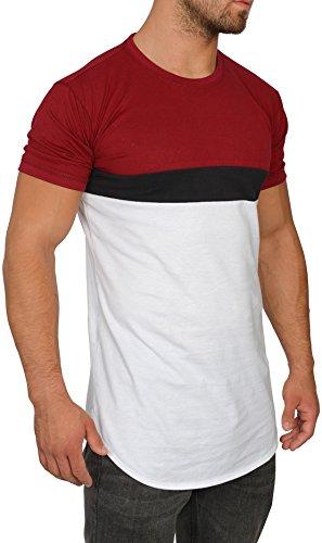 MMC Oversize Shirt Herren - Basic T-Shirt Männer - Kurzarm Longshirt (S, rot / schwarz / weiß)