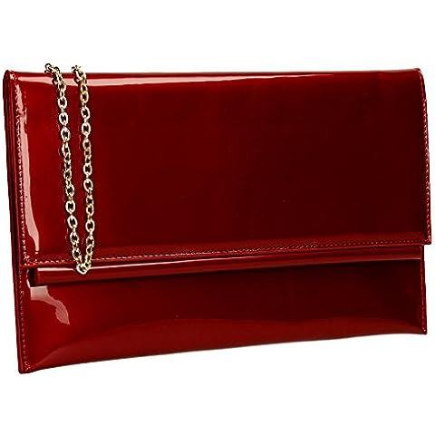 SwankySwansAubrey Patent Leather Clutch Bags Burgundy -