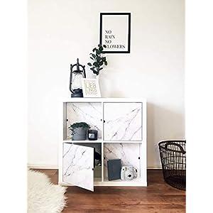 Regaleinsatz passend für Ikea Kallax Expedit | Als stufenlos verschiebbare Cover | Nutzbar als Rückwand Sichtschutz Raumtrenner | Ohne Kleben/Schrauben | 33x33x0.5cm | Marmor