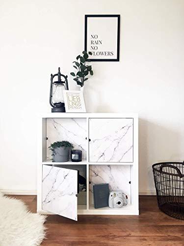 Regaleinsatz passend für Ikea Kallax und Expedit Regal Fächer   Als stufenlos verschiebbares Cover oder Tür   Nutzbar als Rückwand Raumtrenner Ordnung Deko  Ohne Schrauben   33,5x33,5x0.5cm   Marmor