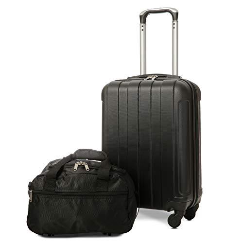 EONO Essentials Trolley in ABS - bagaglio a mano 55x35x20 cm - Valigia rigida, guscio duro e antigraffio con 4 ruote. Ideale a bordo di Ryanair, Alitalia, Air Italy, easyJet, WizzAir + 2a borsa Nero