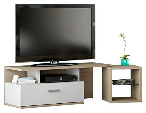 """Demeyere 160715 TV Bank 1 Schublade und Beistellregal """"MOVIE"""", Spanplatte, sonoma eiche/ weiss, 120 x 42 x 44 cm"""