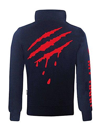 Streetwear by RAIKOU original design, aktuelle Sweatjacke für Männer mit Print, Sweatshirt mit Reißverschluss, Herren Sweatshirt mit Aufdruck, Casual Men´s Wear, Sportswear Night Blue
