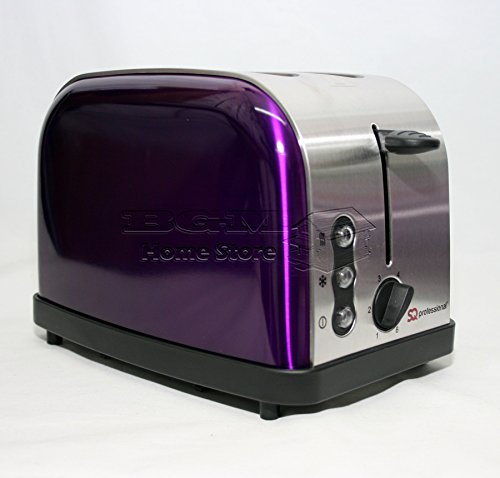 SQPRO Electric 1.8L Traditional Cordless Kettle and 2 Slice Toaster in Metallic Amethyst Purple Set