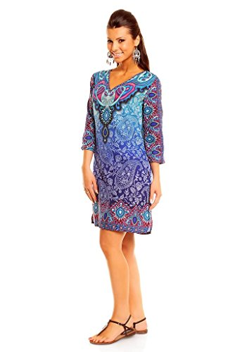 Damen Looking Glam Tribal Aufdruck Kaftan Tunika Sommer Top Midi Kleid - Größe 10 - 18 Blau