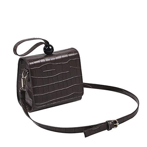 Mode Retro Lady Schlange Perlen Leder Brieftasche Umhängetasche Diagonale Paket Geldsäckchen Mini Geldbörse Leder Münzbörse Minibörse Kleingeldbörse Geldbeutel (Kaffee)