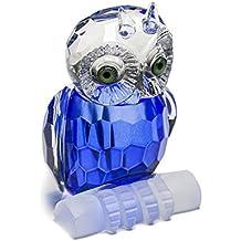 H y D Mini cristal azul de búho adorno de diseño de figura de colección de