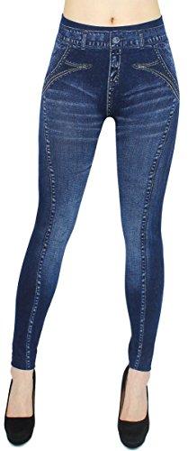 dy_mode Leggings Damen High Waist Stone Washed Optik Jeggings - OneSize Gr.36-42 - JL093 (JL225-DoubleEdge)