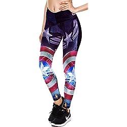 Mallas mujer termicas para running de deporte y fitness. Leggings. (Capitan America electrica) Única