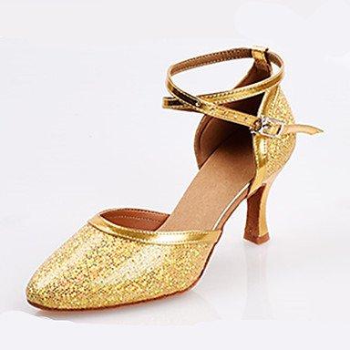 XIAMUO Frauen Heels Frühling Sommer Herbst andere D'Orsay & zweiteilige Kunstleder Kleid Stiletto Heel Pailletten Schnalle Lila Silber Gold Light Pink Silber