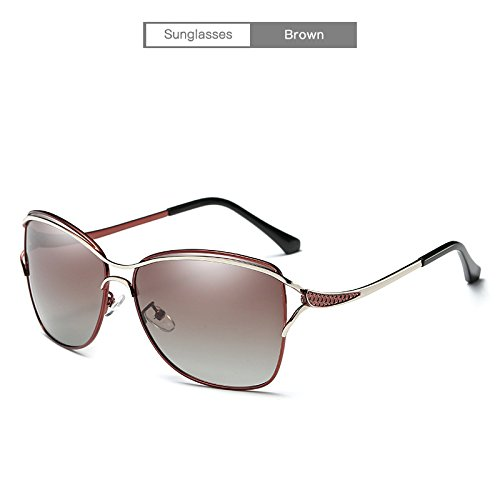 Yiph-Sunglass Sonnenbrillen Mode Damen Sonnenbrille weibliche Larged-Framed polarisierte Fahren outdor Eyewear Zubehör für Frauen (Color : Brown)