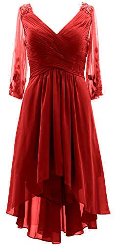 MACloth 3/4 Sleeves V Neck Mother of the Bride Dress Hi-Lo Formal Evening Gown red
