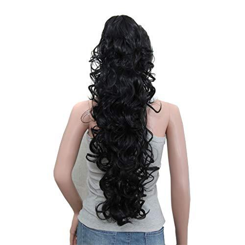 Perücken Damen, Langes lockiges Haar, Klaue clip lockiges wellig haar pferdeschwanz,Lange Clip-in Curly Claw Jaw Pferdeschwanz Clip in Haarverlängerungen wellig ()
